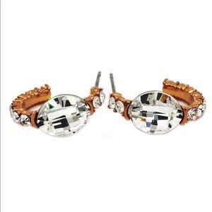 Special golden hook crystal earrings